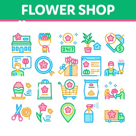 Flower Shop Boutique Collection Icons Set Vector. Flower Store Building And Delivery, Floral Present And Vase, Internet Web Site And Bag Concept Linear Pictograms. Color Illustrations