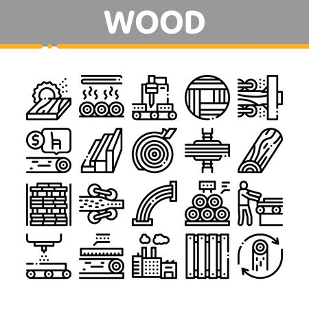 Wood Production Plant Collection Icons Set Vector. Wood Sawmill And Forestry Equipment, Timber And Lumber, Factory And Wooden Fence Concept Linear Pictograms. Monochrome Contour Illustrations