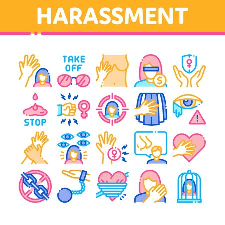 Sexual Harassment Collection Icons Set Vector. Victim And Woman Sexual Harassment, Molestation And Assault, Violent And Inappropriate Concept Linear Pictograms. Color Illustrations