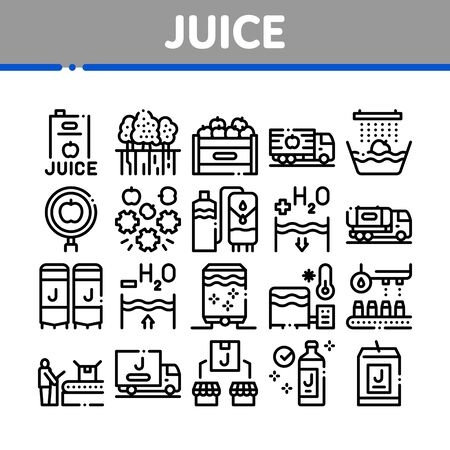 Juice Production Plant Collection Icons Set Vector. Juice Package And Bottle, Fruit In Box And Tree Garden, Factory Conveyor And Packaging Concept Linear Pictograms. Monochrome Contour Illustrations