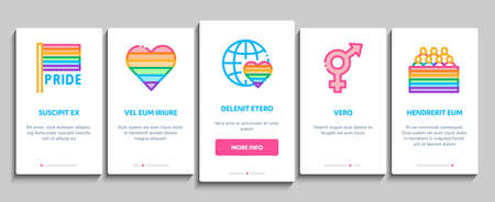 Lgbt Homosexual Gay Onboarding Mobile App Page Screen Vector. Lgbt Community And Flag, Unicorn And Rainbow, Love Freedom And Marriage Color Illustrations 向量圖像