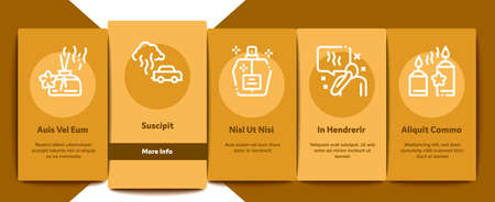 Odor Aroma And Smell Onboarding Mobile App Page Screen Vector. Nose Breathing Aromatic Odor And Clean Air, Perfume And Oil Bottle, Facial Mask And Candle Color Illustrations