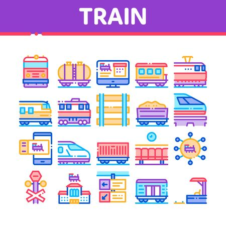 Train Rail Transport Collection Icons Set Vector. Electrical Passenger And Freight Train, Railway Station And Platform, Carriage And Ticket Concept Linear Pictograms. Color Illustrations 일러스트