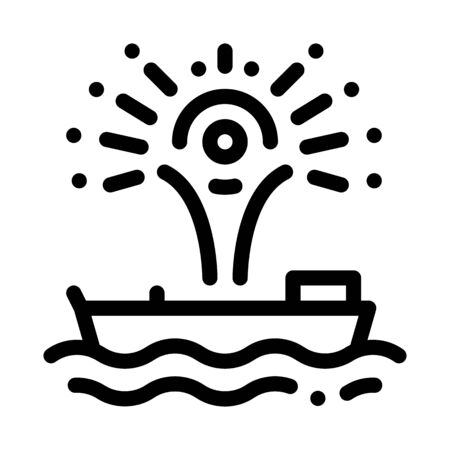 firework sparkle on boat icon vector. firework sparkle on boat sign. isolated contour symbol illustration