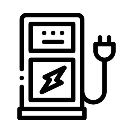 electro car charge station icon vector. electro car charge station sign. isolated contour symbol illustration