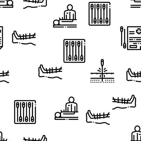 Acupuncture Therapy Seamless Pattern Vector Thin Line. Illustrations Illustration