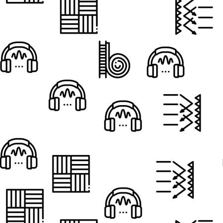 Soundproofing Building Material Seamless Pattern Vector Thin Line. Illustrations Stock Illustratie