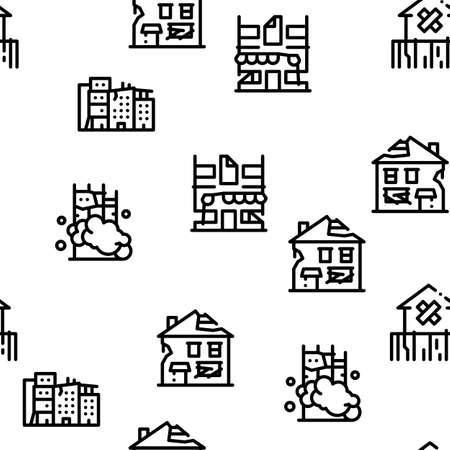 Broken House Building Seamless Pattern Vector Thin Line. Illustrations 矢量图片