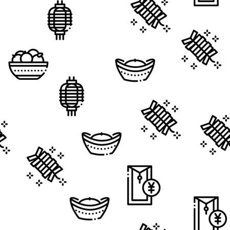 Chinese New Year Feast Seamless Pattern Vector Thin Line. Illustrations  イラスト・ベクター素材