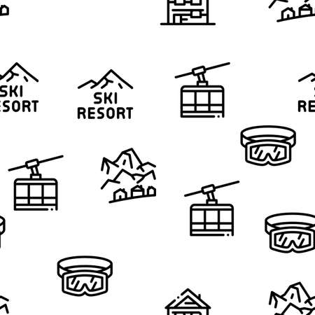 Ski Resort Vacation Seamless Pattern Vector Thin Line. Illustrations