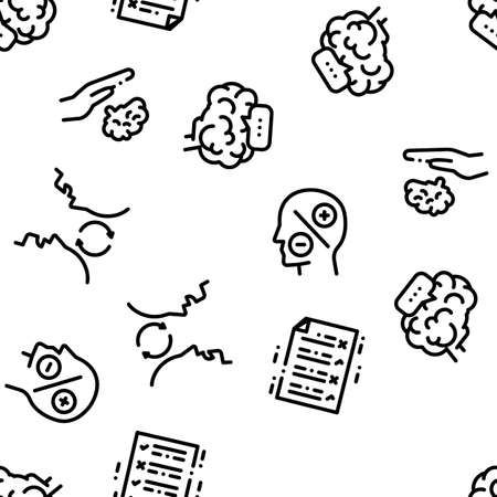 Dementia Brain Disease Seamless Pattern Vector Thin Line. Illustrations