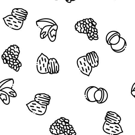 Nut Food Different Seamless Pattern Vector Thin Line. Illustrations Ilustração