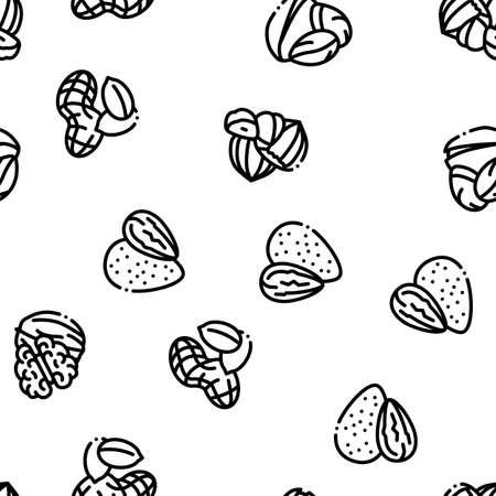 Nut Food Different Seamless Pattern Vector Thin Line. Illustrations Ilustração