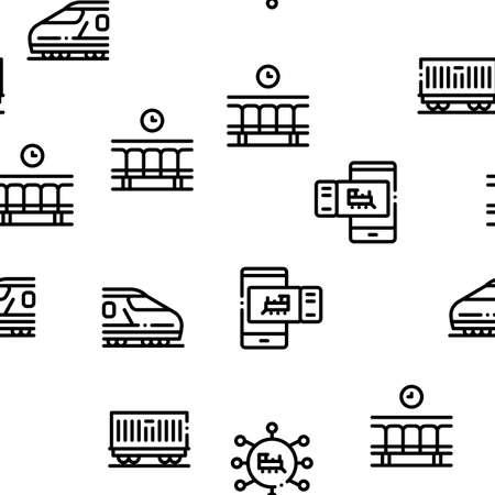 Train Rail Transport Seamless Pattern Vector Thin Line. Illustrations