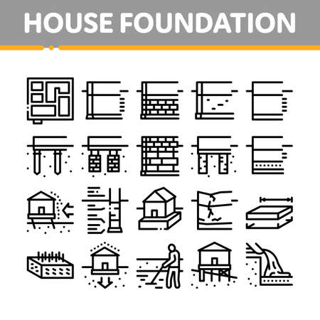 House Foundation Base Collection Icons Set Vector. Concrete And Brick Building Foundation, Broken And Rickety Basement, Plan And Size Concept Linear Pictograms. Contour Illustrations Иллюстрация