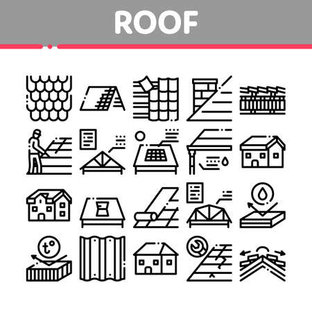 Roof Housetop Material Collection Icons Set Vector. House Roof Waterproof And Temperature Heat Resistant Construction, Repair And Installation Concept Linear Pictograms. Contour Illustrations