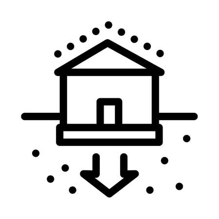 house foundation sags icon vector. house foundation sags sign. isolated contour symbol illustration