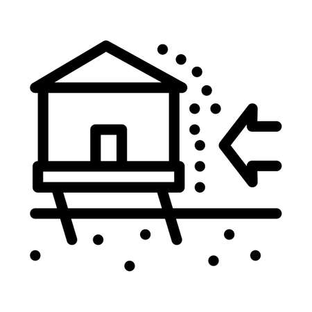 house demolishes with wind icon vector. house demolishes with wind sign. isolated contour symbol illustration