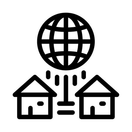 houses internet connection icon vector. houses internet connection sign. isolated contour symbol illustration Vectores