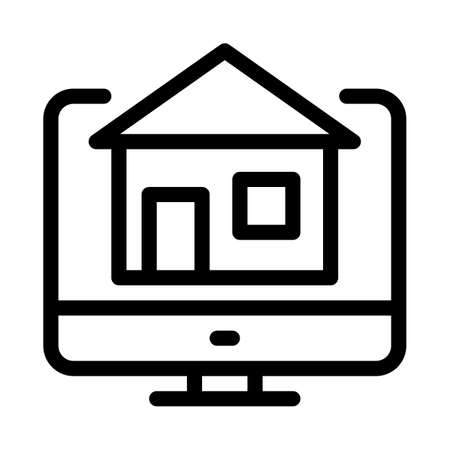 house on computer display icon vector. house on computer display sign. isolated contour symbol illustration