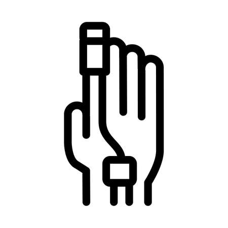heart rate measurement tool on patient finger icon vector. heart rate measurement tool on patient finger sign. isolated contour symbol illustration