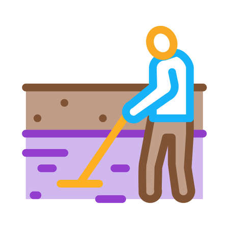 house foundation laying icon vector. house foundation laying sign. color symbol illustration