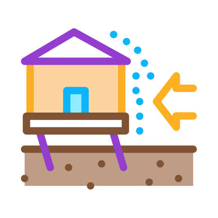 house demolishes with wind icon vector. house demolishes with wind sign. color symbol illustration