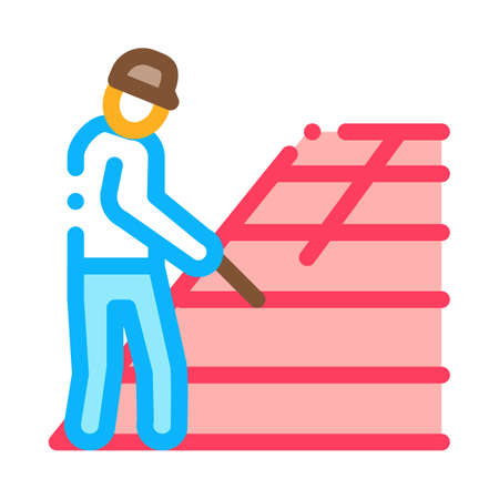 roofer repair roof icon vector. roofer repair roof sign. color symbol illustration