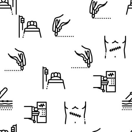 Surgeon Medical Doctor Seamless Pattern Vector Thin Line. Illustrations