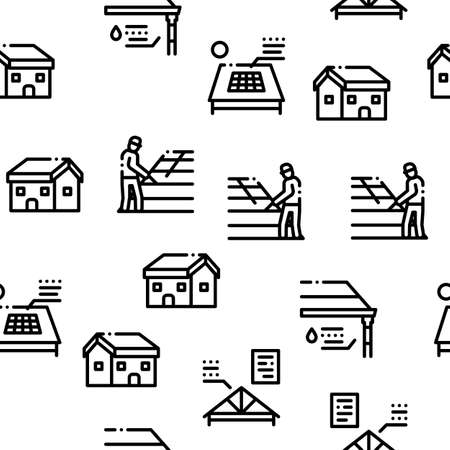 Roof Housetop Material Seamless Pattern Vector Thin Line. Illustrations