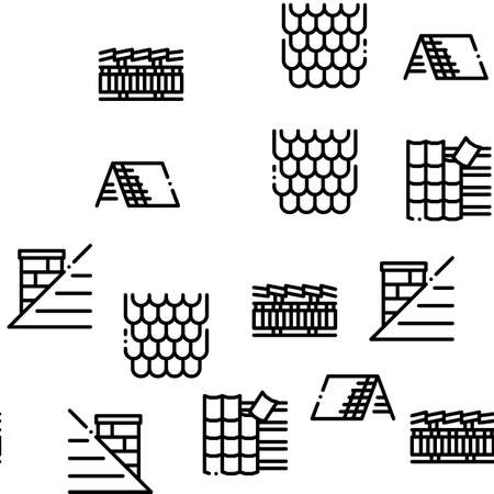 Roof Housetop Material Seamless Pattern Vector Thin Line. Illustrations Illustration