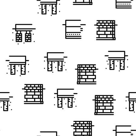 House Foundation Base Seamless Pattern Vector Thin Line. Illustrations