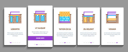 House Foundation Base Onboarding Mobile App Page Screen Vector. Concrete And Brick Building Foundation, Broken And Rickety Basement, Plan And Size Illustrations Vecteurs