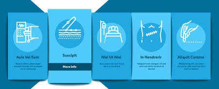 Surgeon Medical Doctor Onboarding Mobile App Page Screen Vector. Surgeon Facial Mask And Glasses, Scalpel And Forceps, Surgical Table And Lamp Illustrations