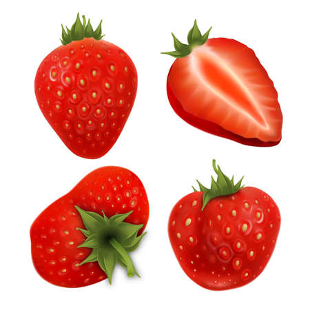 Strawberry Agricultural Tasty Berries Set Vector. Collection In Different Size, Whole And Cut Vitamin Ripe Strawberry Harvest. Diet Natural Juicy Dessert Template Realistic 3d Illustrations