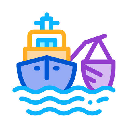 fishing ship icon vector. fishing ship sign. color symbol illustration