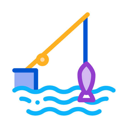 fishing rod icon vector. fishing rod sign. color symbol illustration