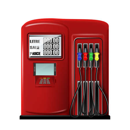 Gas Station Equipment For Refuel Automobile Vector. Fuel Auto Station Tool With Petrol Pump Filling Nozzles, Payment Terminal And Gasoline Measuring. Car Refueling Template Realistic 3d Illustration Ilustração