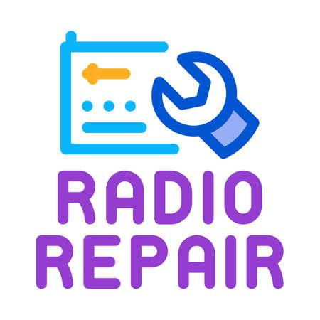radio repair icon vector. radio repair sign. color symbol illustration