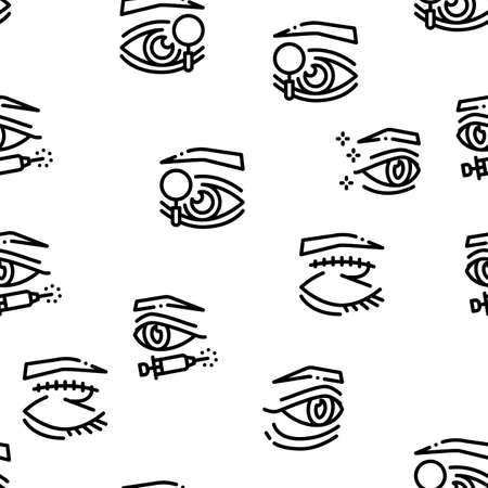 Eyelid Surgery Healthy Seamless Pattern Vector Thin Line. Illustrations Иллюстрация