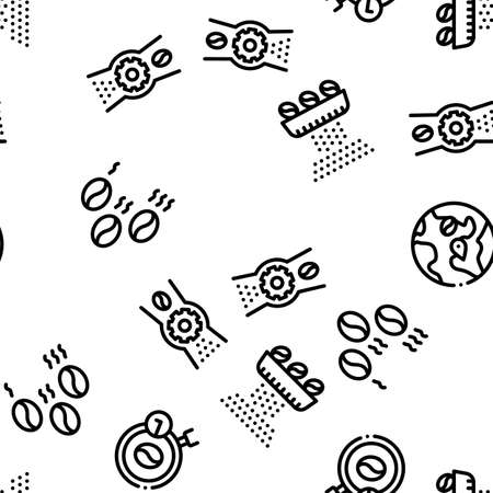 Coffee Production Seamless Pattern Vector Thin Line. Illustrations Vetores