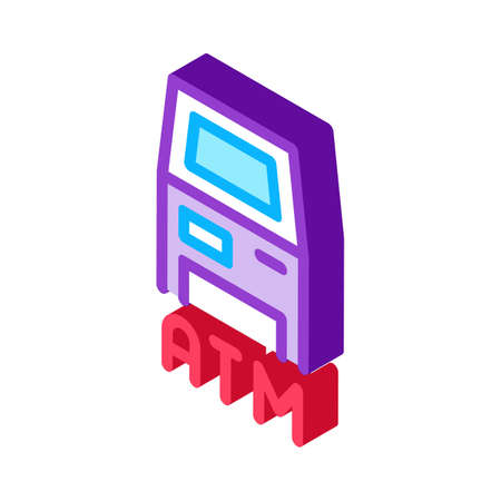 atm terminal icon vector. isometric atm terminal sign. color isolated symbol illustration Ilustração