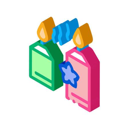 aromatic burning candles icon vector. isometric aromatic burning candles sign. color isolated symbol illustration Illustration