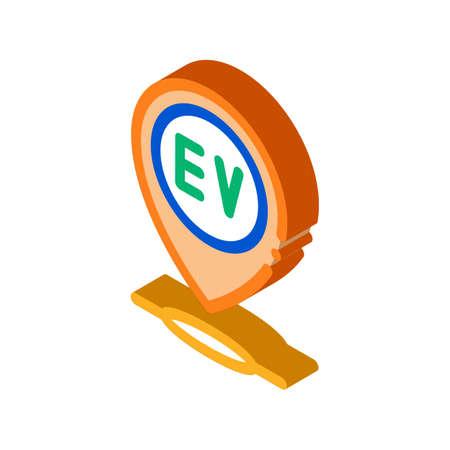 electro chard station gps mark icon vector. isometric electro chard station gps mark sign. color isolated symbol illustration