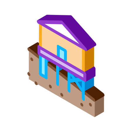 mixed type of built foundation icon vector. isometric mixed type of built foundation sign. color isolated symbol illustration