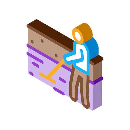 house foundation laying icon vector. isometric house foundation laying sign. color isolated symbol illustration