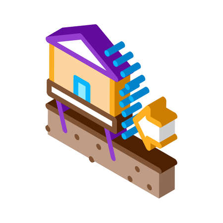 house demolishes with wind icon vector. isometric house demolishes with wind sign. color isolated symbol illustration