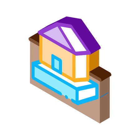 house on foundation icon vector. isometric house on foundation sign. color isolated symbol illustration