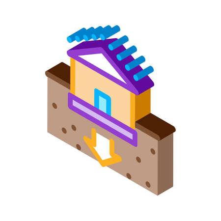 house foundation sags icon vector. isometric house foundation sags sign. color isolated symbol illustration Ilustración de vector