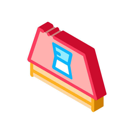 roof opened window icon vector. isometric roof opened window sign. color isolated symbol illustration